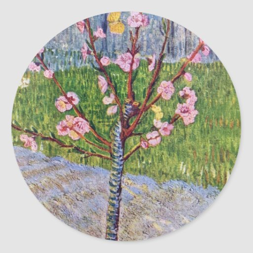 Blossoming Peach Tree By Vincent Van Gogh Sticker