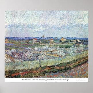 Blossoming Peach trees at La Crau by van Gogh Poster