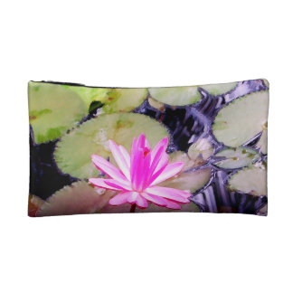 Blossoming Pink Water Lily Cosmetic Bag
