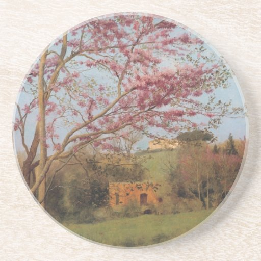 Blossoming red almond Tree Beverage Coaster