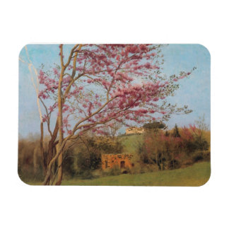 Blossoming red almond Tree Rectangular Photo Magnet