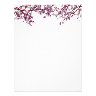 Blossoming Tree Floral Stationery Letterhead