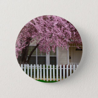 Blossoming Tree in the Suburbs Pinback Button