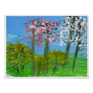 Blossoming trees and forsythia poster