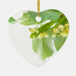 Blossoming twig of limetree or linden tree ceramic ornament