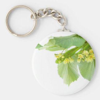Blossoming twig of limetree or linden tree keychain