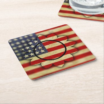 Blossoming USA Square Paper Coaster