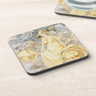 Blossoming Vintage Yellow Rose Garden Beauty Coaster