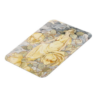 Blossoming Vintage Yellow Rose Garden Beauty Magnet