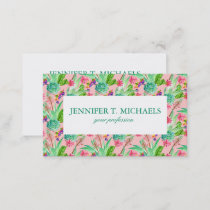 Blossoming Watercolor Succulents Pattern Business Card