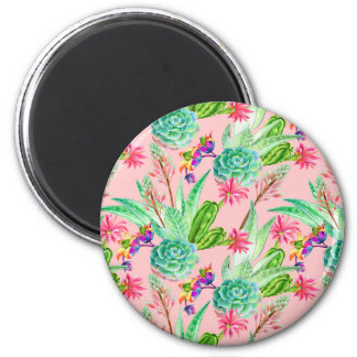 Blossoming Watercolor Succulents Pattern Magnet