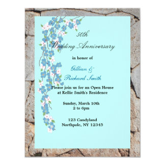 Blossoms 50th Wedding Anniversary Card