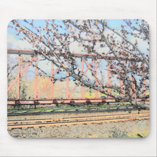 Blossoms and Train Car Mouse Pad