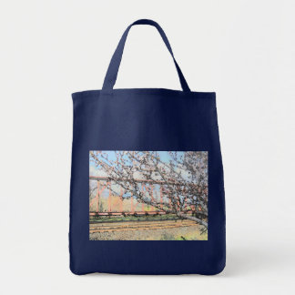 Blossoms and Train Car Tote Bag