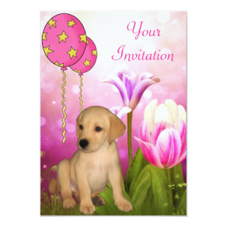 "Blossoms Balloons & Labrador Puppy Event 5"" X 7"" Invitation Card"