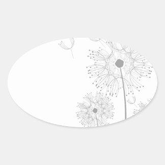 Blossoms Dandelion Flowers Peace Love Destiny Oval Stickers