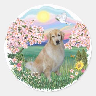 Blossoms - Golden 10 Classic Round Sticker