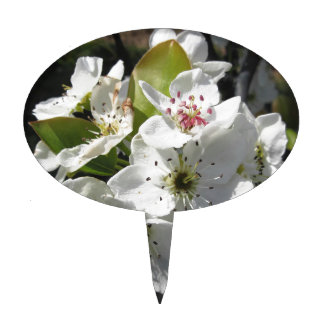 Blossoms of a pear tree in spring cake topper