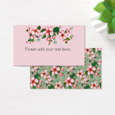 Professional Business Blossoms pink & green Business/Registry/Place Card
