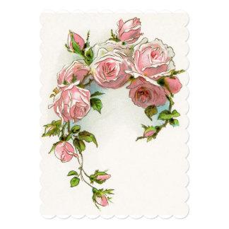 blossoms pink vines petals vintage flowers card