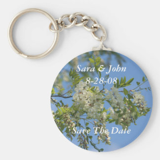 Blossoms Save The Date Wedding Favor Keychain