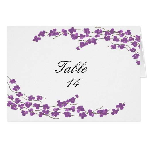 Blossoms Table Seating Card - Purple Blossoms