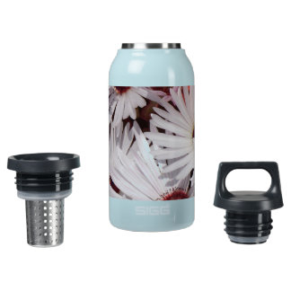 blossoms vines floral pink black white flowers insulated water bottle