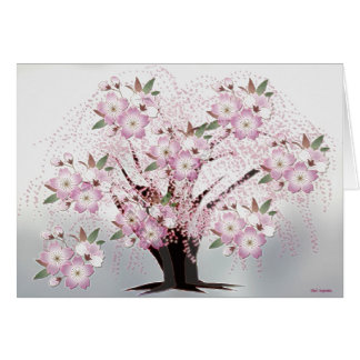 Blossoms White Origami Artwork Card