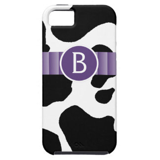Blotchy Cow Print with Purple Ribbon Monogram iPhone 5 Covers