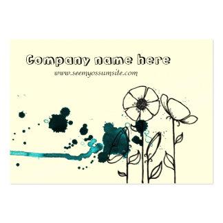 Blotchy flowers, blue business card