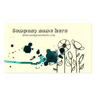 Blotchy flowers, blue business card template