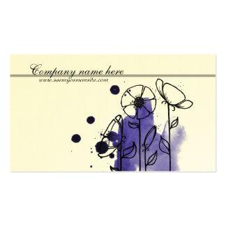 Blotchy flowers, blue business card templates