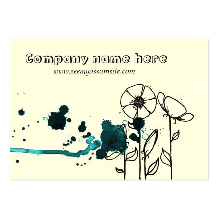 Blotchy flowers, blue large business card