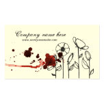 Blotchy flowers, red business card templates