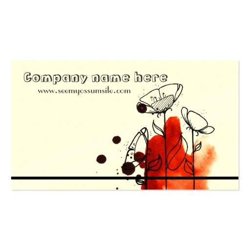 Blotchy flowers, red business cards