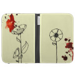 Blotchy flowers red cases for kindle