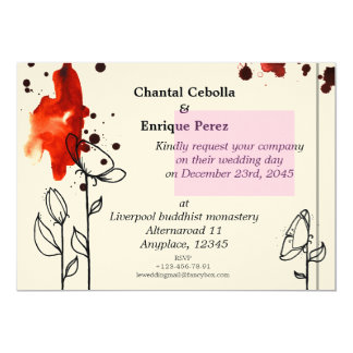 Blotchy flowers red personalized invite