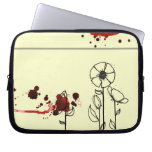 Blotchy flowers red laptop computer sleeves
