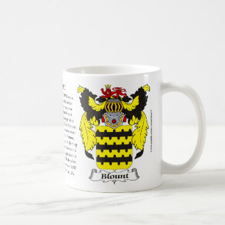 Blount, the Origin, the Meaning and the Crest Coffee Mug