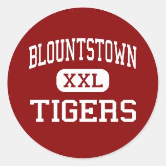 Blountstown - tigres - centro - Blountstown Pegatinas Redondas