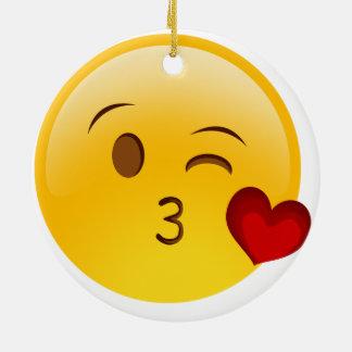 Blow a kiss emoji Double-Sided ceramic christmas Ceramic Ornament