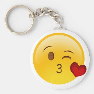 Blow a kiss emoji sticker basic round button keychain