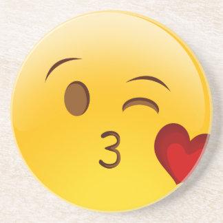 Blow a kiss emoji sticker beverage coaster