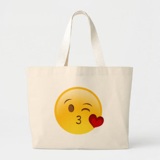 Blow a kiss emoji sticker large tote bag