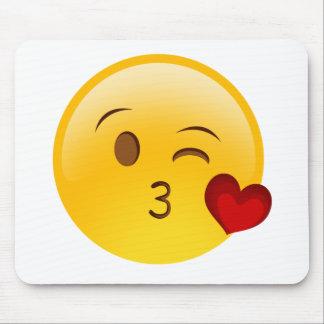 Blow a kiss emoji sticker mouse pad