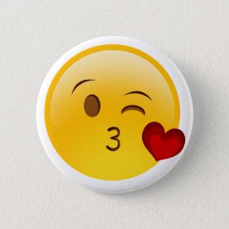 Blow a kiss emoji sticker pinback button