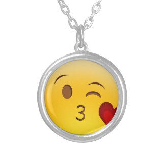 Blow a kiss emoji sticker silver plated necklace