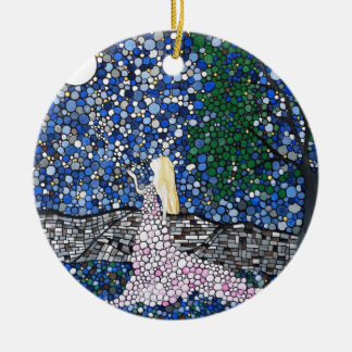 Blow a kiss to the moon ceramic ornament