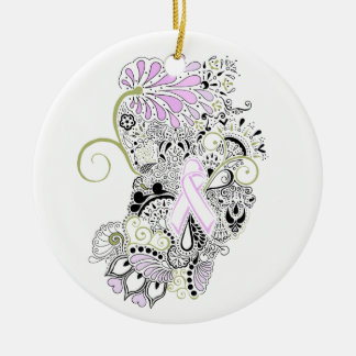 Blow Away Breast Cancer Ceramic Ornament