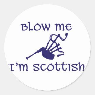 Blow me i'm Scottish Classic Round Sticker